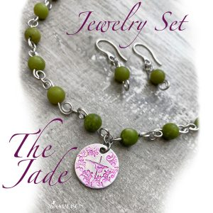 """The Jade"" Nephrite Jade Pole Dancer Necklace & Earring Set"