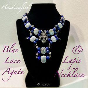 Handcrafted Blue Lace Agate & Lapis Lazuli Choker