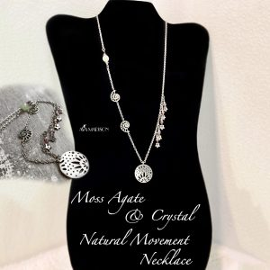 Moss Agate & Crystal Natural Movement Necklace